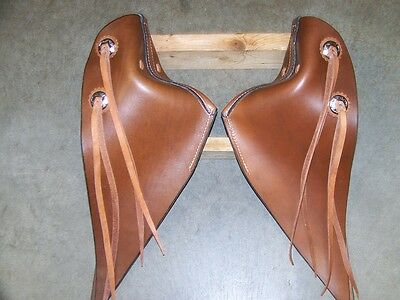 LEATHER SADDLE TAPADEROS--22 INCHES LONG--with STIRRUPS~~ADULT SIZE--MEDIUM OIL