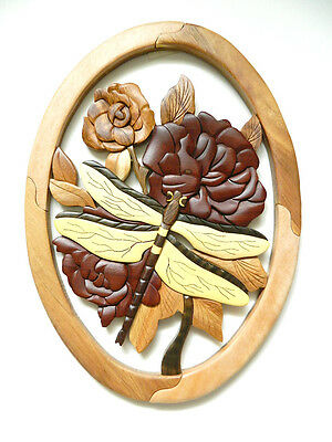 Dragonfly Flowers Intarsia Wood Wall Art Home Decor Plaque Lodge New