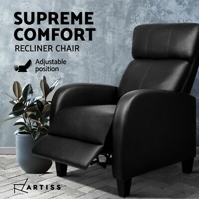 Artiss Luxury Sofa Recliner Chair Lounge Padded PU Leather Armchair Couch Black