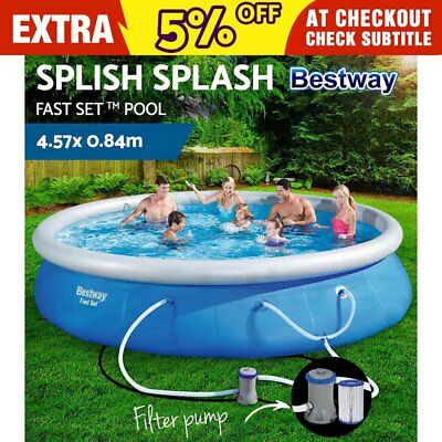 Bestway Fast Set 15FT Inflatable Swimming Pool Family Filter Pump