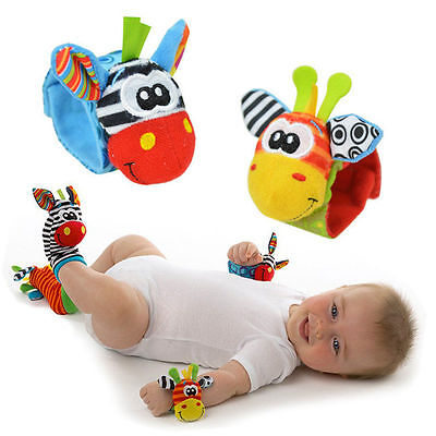 New Baby Soft Handbells Hand Wrist Strap Rattles Animal Socks Baby Toys DS