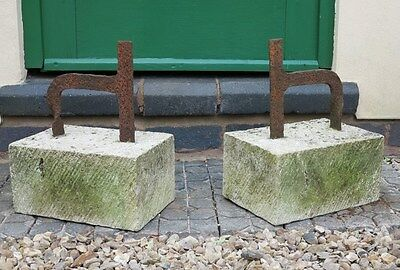 Pair of Old Wrought Iron Boot Scrapers on Stone Bases - Garden Ornament Shoe