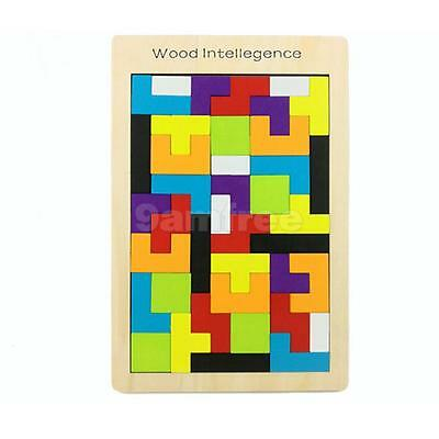 Colorful Wooden Tetris Puzzle Toy Brain Teaser Game Children Educational Toy