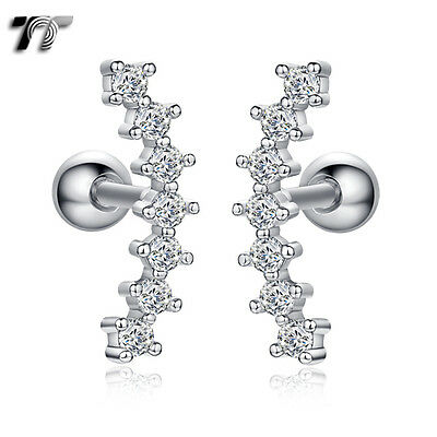 TT Surgical Steel Multi Stone Cartilage Tragus Earrings (TR30) NEW