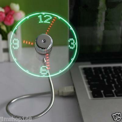 Mini USB Powered LED Cooling Flashing Real Time Display Function Clock Fan Lot