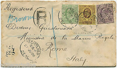 UK, REGISTERED FROM DEAL TO ROME, 1906, 3 STAMPS KING EDWARD VII          m