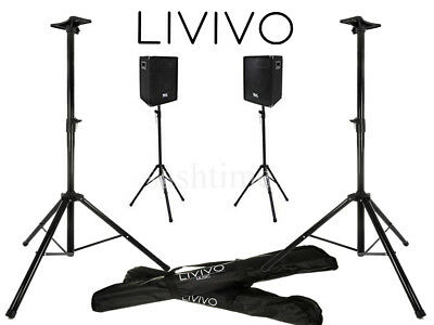 Livivo 2Pc Speaker Stand Kit Metal Tripod Adjustable Height Pa Dj Disco With Bag
