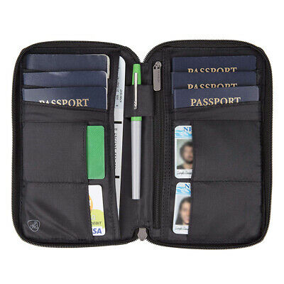 Multi Passport Holder RFID Blocking ID Wallet Compact Travel Case Travelon New !