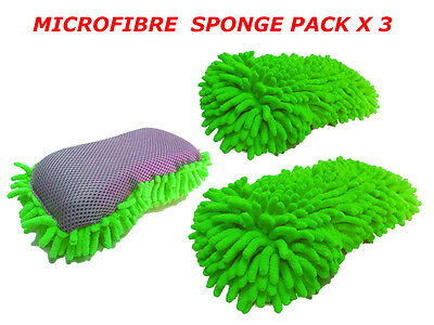 3 x Microfibre Noodle Sponge, Double Sided, Tar Remover, Elasticated Hand Strap