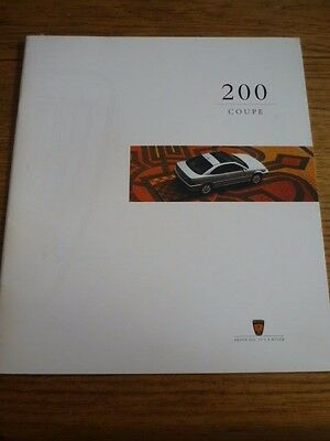 Rover 200 Coupe Oversized Car Sales Brochure   1995