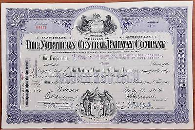 1954 Northern Central Railway Company RR Stock Certificate Raiload Baltimore MD
