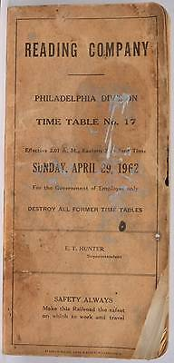 April 1962 Employee Timetable Reading Company Philadelphia PA Division Railroad