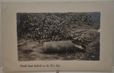 """WWI RPPC AZO Postcard """"Shell That Failed To Do It's Bit"""" Military Army Navy"""