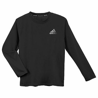 New with Tags Adidas Black T-Shirt Boys SZ 8-18 ClimaLite Long Sleeve Tee