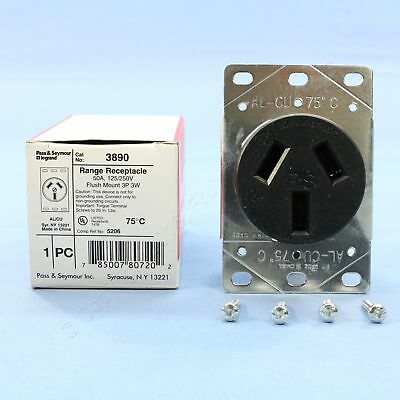 New Pass & Seymour Stove Outlet Oven Range Receptacle 50A 10-50R 125/250V 3890