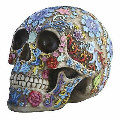 Bright Floral Sugar Skull Collectible Figure Halloween Decor Day of the Dead