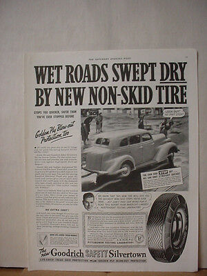 1938 Goodrich Safty Silvertown Tire Blow Out Protection Vintage Print Ad 086
