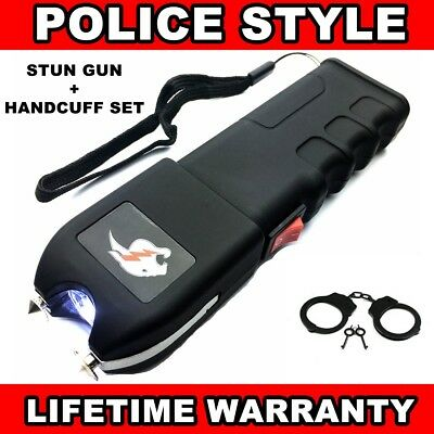 2 PACK TATICAL 999 MV Rechargeable LED FLASHLIGHT POLICE Stun Gun + Hand Cuffs