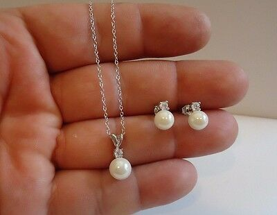 925 Sterling Silver Hanging Pearl Pendant Necklace & Earrings Set W/ Accents