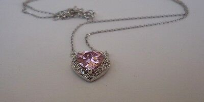 925 Sterling Silver Heart Necklace  Pendant W/ 3.50 Ct Pink /white Diamond/18''
