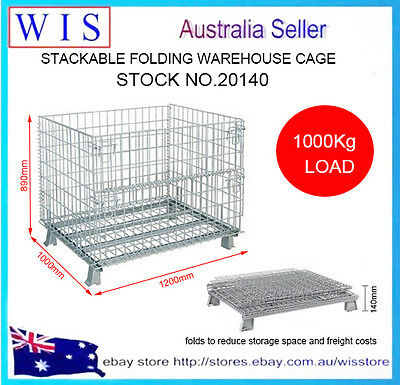 Stackable Folding Mesh Container,Wire Mesh Stillage Container,1000Lg Load-20140
