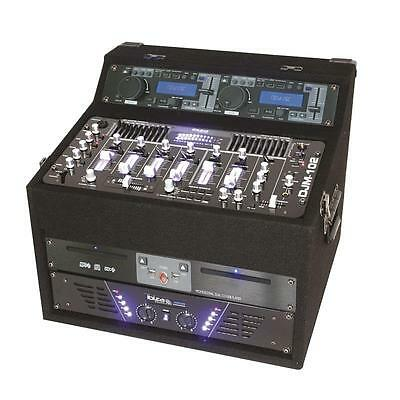 Top Ibiza Dj1000Mkii Komplett Mobile Dj Pult Station Mit Verstärker & Cd Player