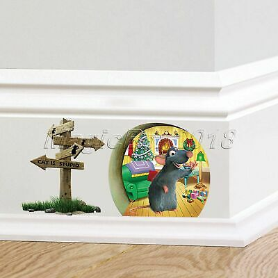 Funny Mouse Rat Hole Cat Is Stupid Wall Sticker Home Decor Kids Bedroom Decal
