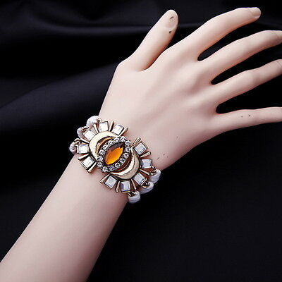 Vintage Gold Plated Art Deco with Topaz Beads White Layers Wrap Bracelet 6.69''
