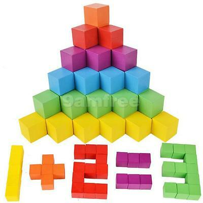 100pcs Colorful Wooden Building Blocks Stacking Game Developmental Baby Toy
