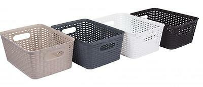 Large Rattan Style Plastic Kitchen Storage Basket Garden Home Choice Of Colours