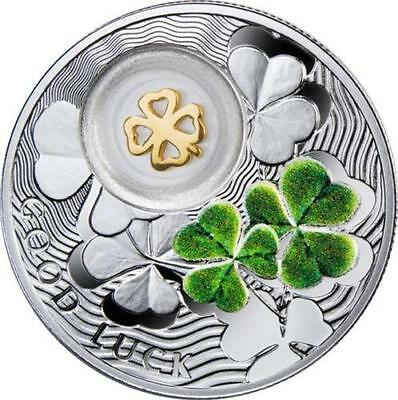 Niue 2014 1$ Symbols of Luck FOUR LEAF CLOVER Proof Silver Coin *LIMIT 3333*