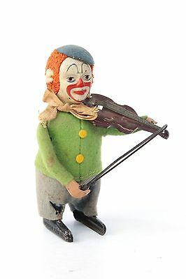 Schuco Tin Wind-Up Toy Clown with Violin : Made in Germany