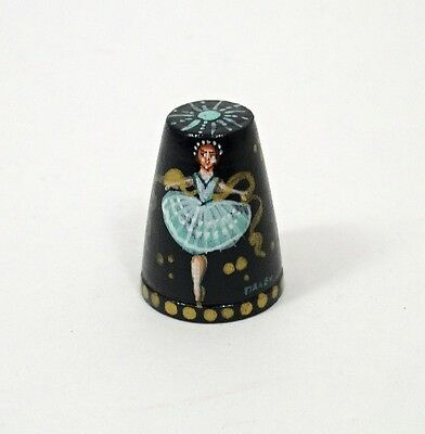 Russian Lacquer Hand Painted Thimble BALLERINA #1406