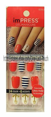 KISS imPRESS Press-On Manicure BELLS & WHISTLES 30 Nails+ACCENT Anchor+Red 5/10