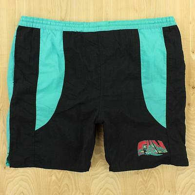8da6b041a5 vtg 90s CITY HERO swim trunks LARGE shorts surf teal faded FUN colorblock