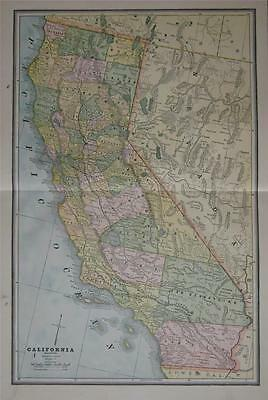 1887 California Original Large 2-page Color Map** Nevada on back ..129 Years-Old
