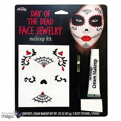 Day of the Dead Face Jewellery Makeup Kit Halloween Stickers Make Up Fancy Dress