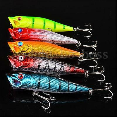 5pz Popper Esche Artificiali Pesca Spinning Mare Fiume Laghi Minnow Lures Tackle