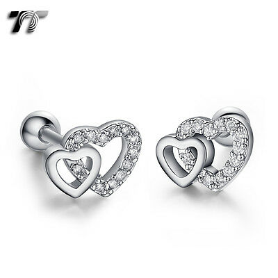 TT Silver Surgical Steel Cz Love Heart Cartilage Tragus Earrings (TR39S) NEW