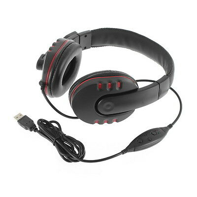 Leather USB Wired Stereo Micphone Headphone Mic Headset for Sony PS3 PC Game DS