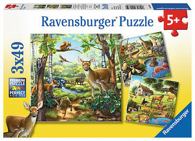 3 x 49 Teile Ravensburger Kinder Puzzle Waldtiere Zootiere Haustiere 09265