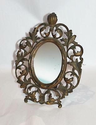 Antique ART NOUVEAU MIRROR ornate metal DRESSER VANITY RARE