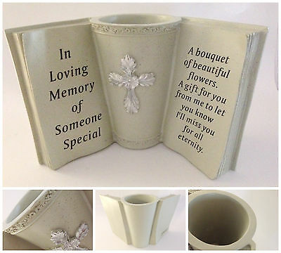 Large Resin Memorial Book with Flower Vase – Grave Plaque Ornament Tribute