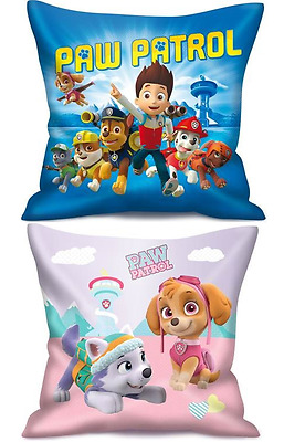 Childrens Kids Paw Patrol Chase & Skye Soft Travel & Scatter Cushions Pillows