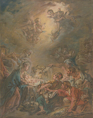 Boucher Francois The Adoration Of The Shepherds Print 11 x 14 #3554