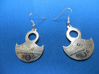 NIGER African Ethnic Jewelry Tuareg TOUAREG GOFED CROSS Silver Earrings AA