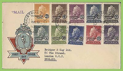Christmas Island 1958 definitives set of 10 on First Day Cover