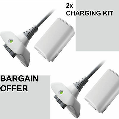 2X New Play And Charge Kit + Rechargeable Battery For Xbox 360 Uk Seller