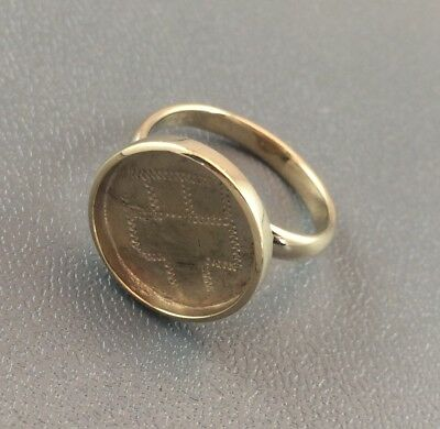 Gold Vermeil Ring Blank 15mm Round Bezel Cabochon Setting Adjustable Finding