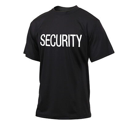 Security Guard Officer Bouncer Quick Dry Performance Sport Black T-Shirt Shirt